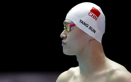 China's Sun Yang prepares to swim during a training session at the 2019 World Swimming Championships in South Korea. Photo: AP