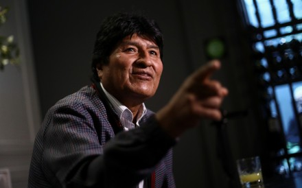 Former Bolivian President Evo Morales gestures during an interview in Mexico City on Friday. Photo: Reuters