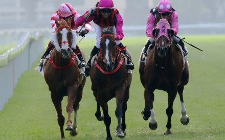 Waikuku (second from left) wins the Jockey Club Mile, beating Ka Ying Star (right) and Beauty Generation (second from right). Photos: Kenneth Chan