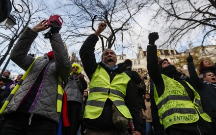 Yellow Vests protesters gather in central Paris to mark the one year anniversary of the protest movement. Photo: EPA-EFE