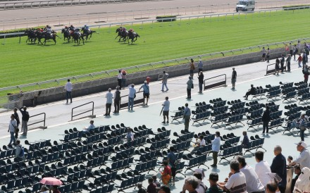 Horses race in front of a tiny crowd at Sha Tin on Sunday. Photos: Kenneth Chan