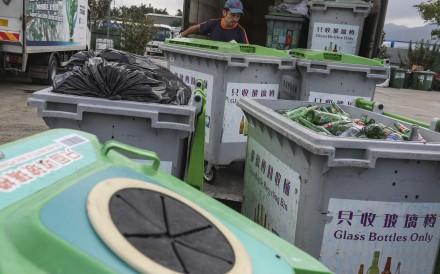 Glass bottle recycling bins in Yuen Long. Photo: Nora Tam
