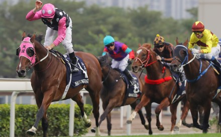 Zac Purton gives Beauty Generation a big pat as he runs away with the 2018 Hong Kong Mile. Photo: Kenneth Chan