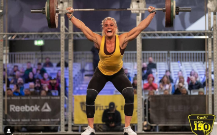 It's all smiles as Sara Sigmundsdottir leads the women at the end of day one. Photo: Filthy 150 Instagram