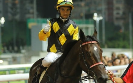 Joao Moreira after winning on King's Trooper at Happy Valley this season. Photos: Kenneth Chan