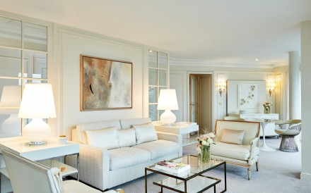 The new Charles Garnier Suite at InterContinental Paris Le Grand is bathed in pristine whites. Photos: Eric Cuvillier