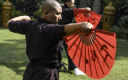 Members of the Kung Fu Nuns group demonstrate their skills in New Delhi. Photo: AFP