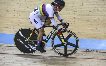 Hong Kong's Sarah Lee competes in the women's keirin at Tseung Kwan O velodrome. Photo: Jonathan Wong