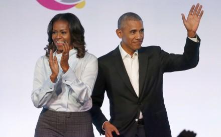 Former US first lady Michelle Obama and former president Barack Obama. Photo: AP