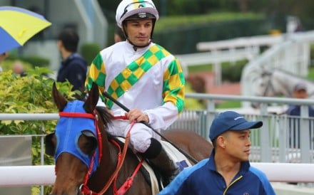 Silvestre de Sousa on Utopia Life after crossing the line first at Sha Tin last season. Photos: Kenneth Chan