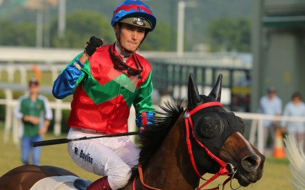 Regan Bayliss celebrates his most recent Hong Kong win aboard Mr Wealth on October 27. Photo: Kenneth Chan