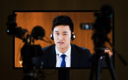 Chinese swimmer Sun Yang seen on a video screen as he speaks during his public hearing at the Court of Arbitration for Sport (CAS) in November. Photo: AP