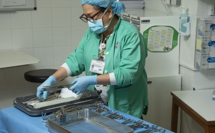 Surgical staff at Hong Kong Adventist Hospital – Stubbs Road, in Happy Valley – which carries out about 3,800 operations each year – must carefully prepare the specific equipment and surgical instruments requested by doctors before each surgery. Photo: Frank Freeman