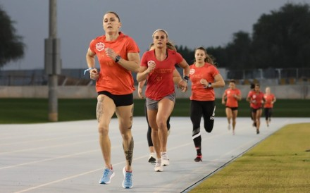 Samantha Briggs leads the pack on day one. Photo: Dubai CrossFit Championship/Adnan Karimjee