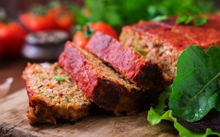 Vegan meat loaf made using plant-based Impossible meat can be found at Nood Food cafes in the Kinwick Centre, Central, and Starstreet Precinct, Wan Chai in Hong Kong.