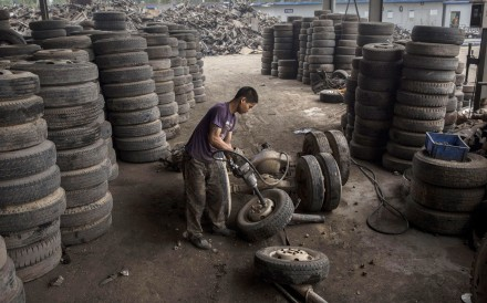 China's tyre recycling industry body says dealing with the 13 million tyres discarded every year could be worth US$14.2 billion to the country's economy. Photo: Getty Images
