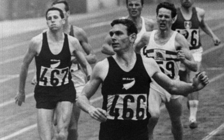 New Zealand champion Peter Snell crosses the line victoriously in the 1,500m final at the 1964 Tokyo Olympics. Photo: AFP