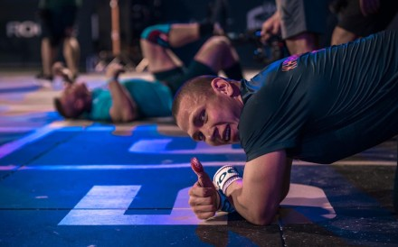 Roman Khrennikov leads the men with a thumbs up. Photo: Mark McDermott/Dubai CrossFit Championship
