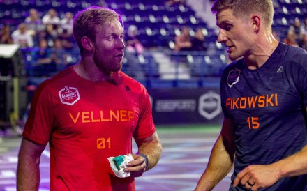 Patrick Vellner enjoying some birthday cake alongside fellow Canadian Brent Fikowski after the final event of day three. Photo: Dubai CrossFit Championship/Adnan Karimjee