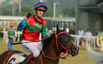 Regan Bayliss celebrates the last winner of his Hong Kong stint in October. Photos: Kenneth Chan