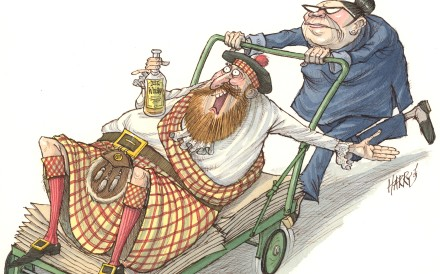 Some regional Scottish New Year's Eve traditions are somewhat hair-raising, and under no circumstances should be attempted elsewhere. Illustration: Harry Harrison