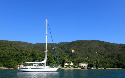 The Teng Hoi yacht moored in Snake Bay (Tai She Wan). Photo: Cameron Dueck