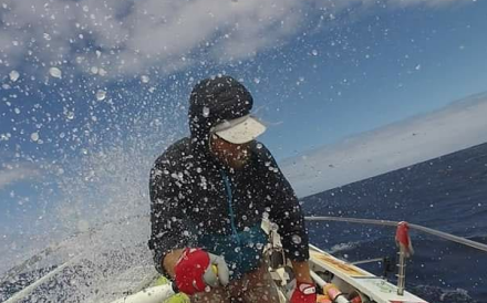 ‎Kārlis Bardelis rowing from Peru, across the Pacific, to Asia. Photo: Handout