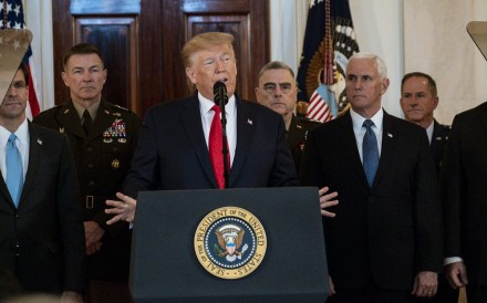 US President Donald Trump delivers a statement in the Grand Foyer of the White House in response to Iran firing more than a dozen ballistic missiles at two Iraqi military bases housing US troops. Photo: Abaca Press/TNS