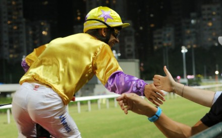 Joao Moreira celebrates with the fans after winning aboard Playa Del Puente earlier this season. Photos: Kenneth Chan
