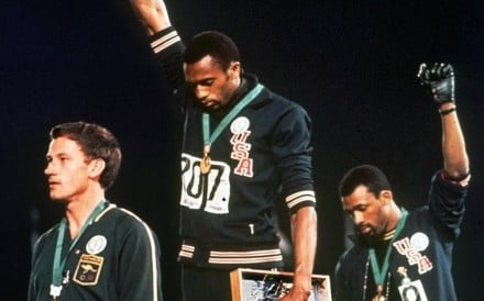 Peter Norman, Tommie Smith and John Carlos protest on the podium in Mexico City in 1968. Photo: AP