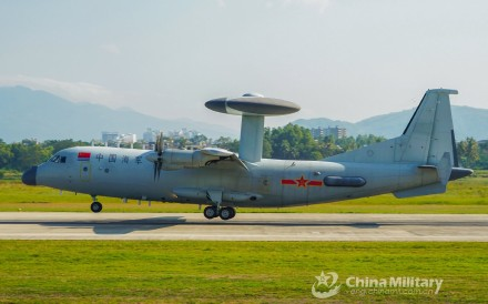 A KJ-500 early warning and control aircraft was among the PLA military planes that staged an exercise close to Taiwan on Thursday. Photo: Weibo