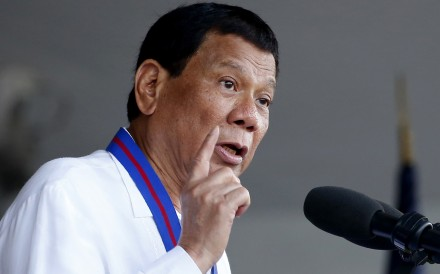 Philippine President Rodrigo Duterte addresses troops in Quezon City in April 2018. Photo: AP