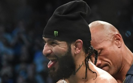 Jorge Masvidal wins the BMF belt after beating Nate Diaz at UFC 244 in 2019. Photo: USA Today