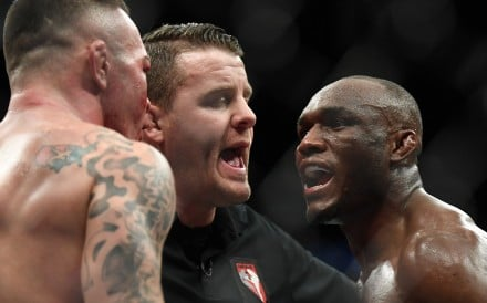Kamaru Usman (right) and Colby Covington are separated after their bout at UFC 245 in 2019. Photo: USA Today