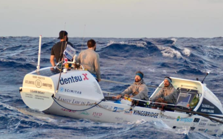 Ewan Bell, James Protherough, Ed Wilson and Jon Merotra rowing across the Atlantic. Photo: Talisker Whisky Atlantic Challenge