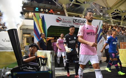 Happy Valley and Kitchee players enter the Mong Kok Stadium pitch ahead of the 2019-20 Hong Kong Premier League season opener. Photo: Facebook/Happy Valley