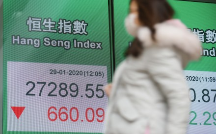 The Hang Seng Index shown on an electronic board in Central. Photo: Winson Wong
