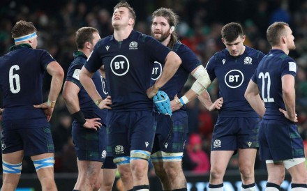Scotland players react at the final whistle after the Six Nations loss to Ireland in Dublin last week. Photo: AFP