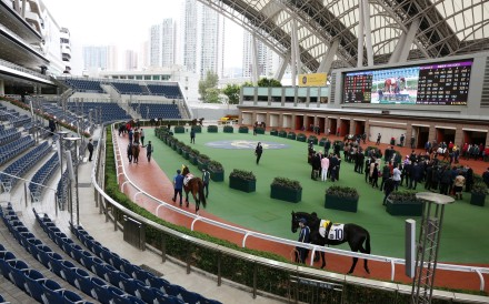 The empty stand surrounding the parade ring at Sha Tin on Saturday. Photos: Kenneth Chan