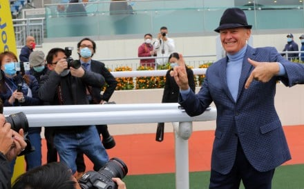John Moore celebrates his 1,700th career winner at Sha Tin on Saturday. Photos: Kenneth Chan