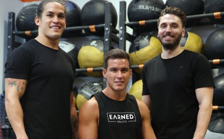 (From left) Ant Haynes, Ed Haynes and Alan Scanlan launched a CrossFit clothing line in Hong Kong. Photo: Winson Wong