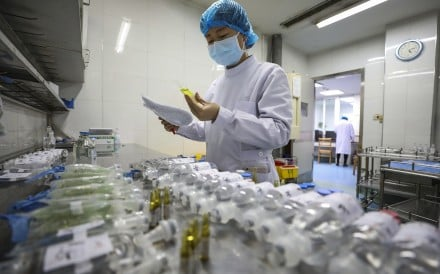 A nurse prepares medicine at Jinyintan Hospital, designated for new coronavirus infected patients, in Wuhan, China. Photo: AFP