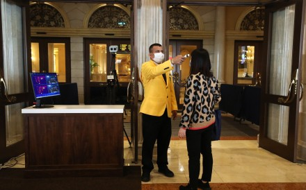 Punters have their temperature checked when entering the Venetian Macau. Photo: Nora Tam