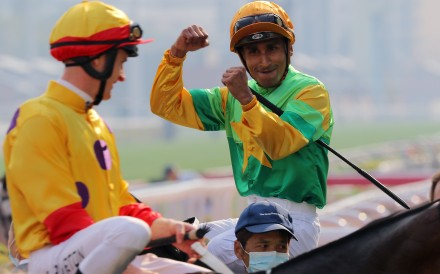 Karis Teetan reacts to the photo-finish results being displayed after winning on Amazing Beats at Sha Tin. Photos: Kenneth Chan
