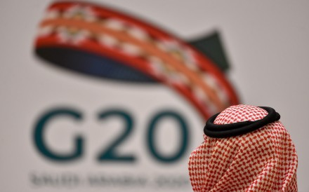 A guest at a meeting of finance ministers and central bank governors of the G20 nations in the Saudi capital. Photo: AFP
