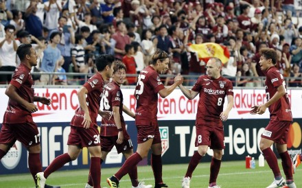 Vissel Kobe's Andres Iniesta (second from right) celebrates with teammates during their J-League meeting with Jubil Iwata. Photo: AP