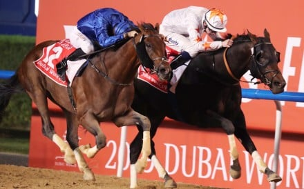 Christophe Soumillon pushes Thunder Snow (left) to victory in the 2019 Dubai World Cup at Meydan. Photo: Kenneth Chan