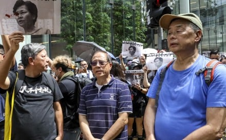 Apple Daily owner Jimmy Lai and pro-democracy politicians Lee Cheuk-Yan and Yeung Sum at the anti-government protest in Central on August 31, 2019. Photo: Dickson Lee