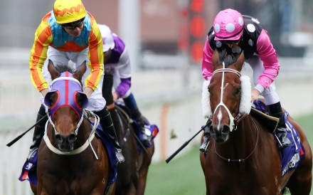 Beauty Generation (right) beats Ka Ying Star in the Group One Queen's Silver Jubilee Cup. Photos: Kenneth Chan