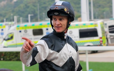 Zac Purton celebrates his win aboard Transcendent on his way to a four-timer at Sha Tin on Saturday. Photos: Kenneth Chan